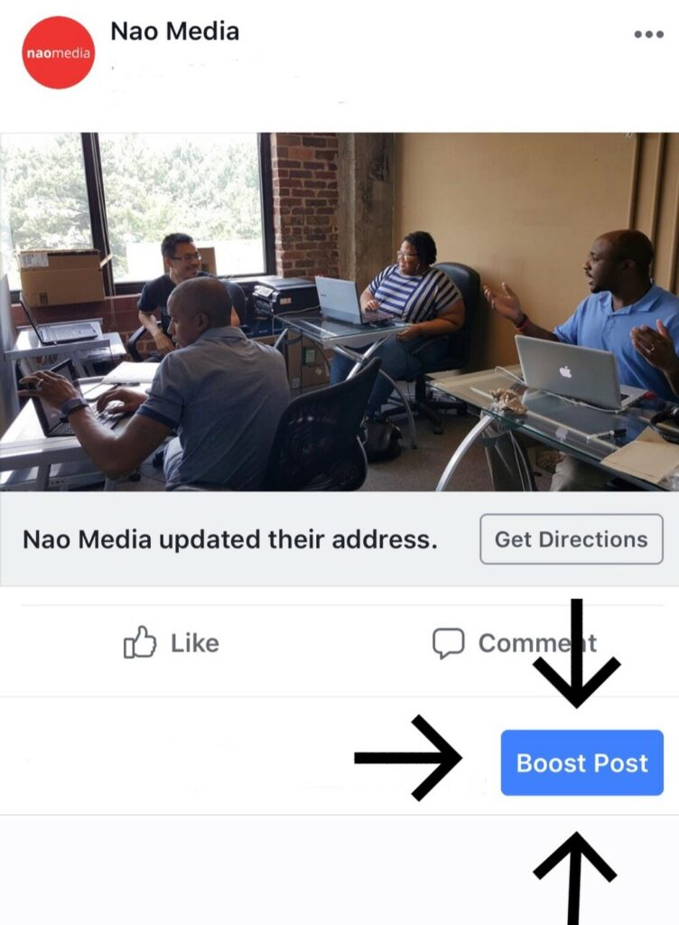 Facebook boosted post vs ad - Boost post button