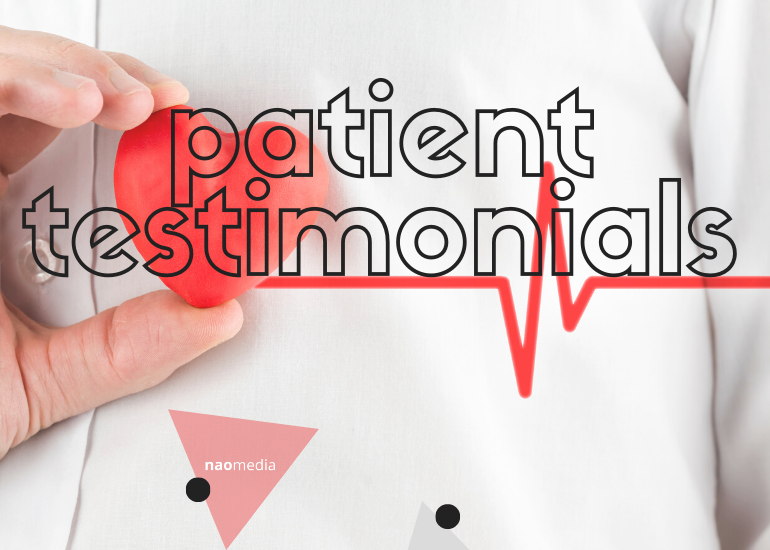 patient testimonials over a white shirt and a red heart rate waves
